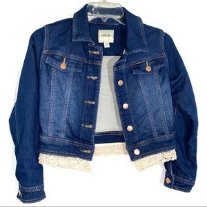 Cherokee Denim Jacket Lace Accent Girls Size 7-8